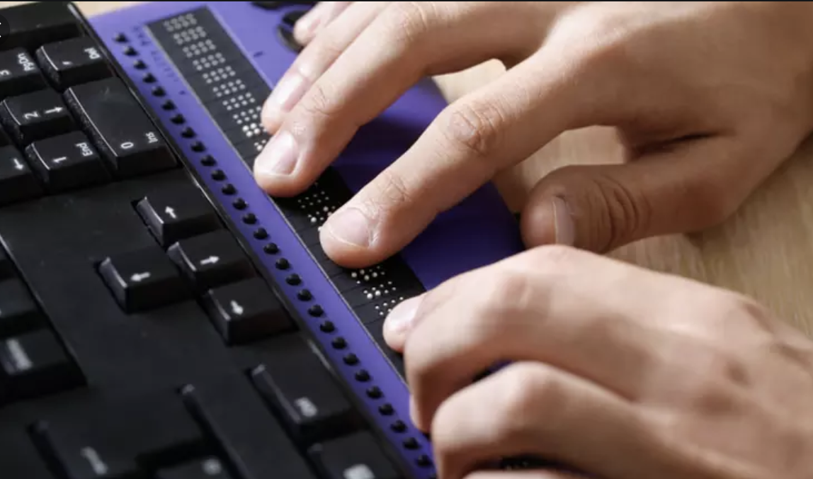 Braille technology product in use