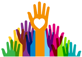 Colorful graphic of helping hands