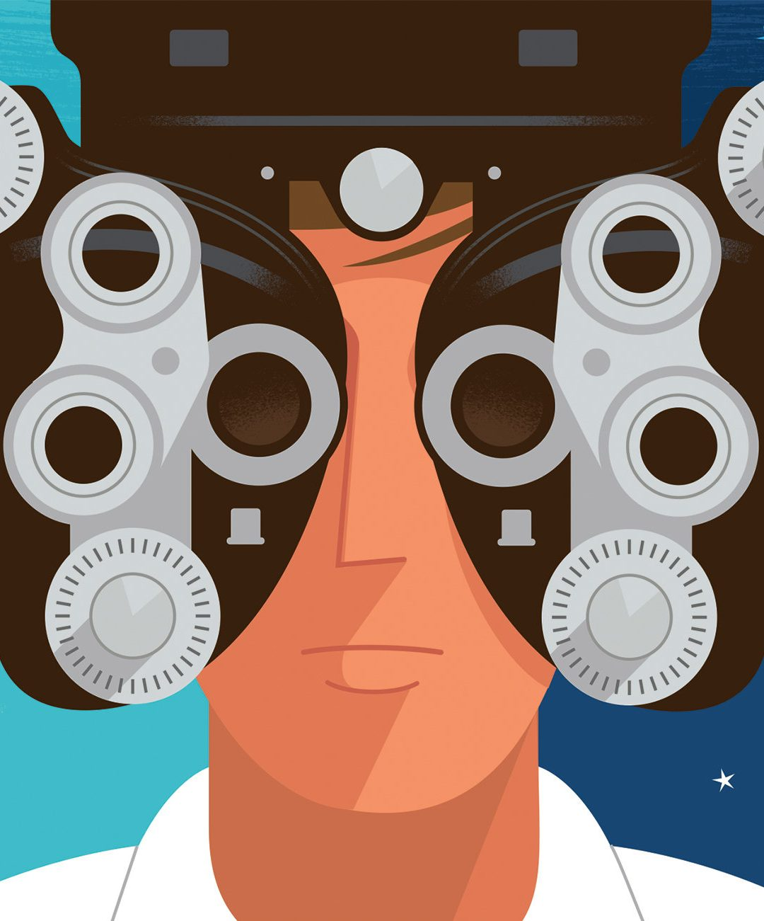 Illustration of a man getting an eye exam - Paul Rogers