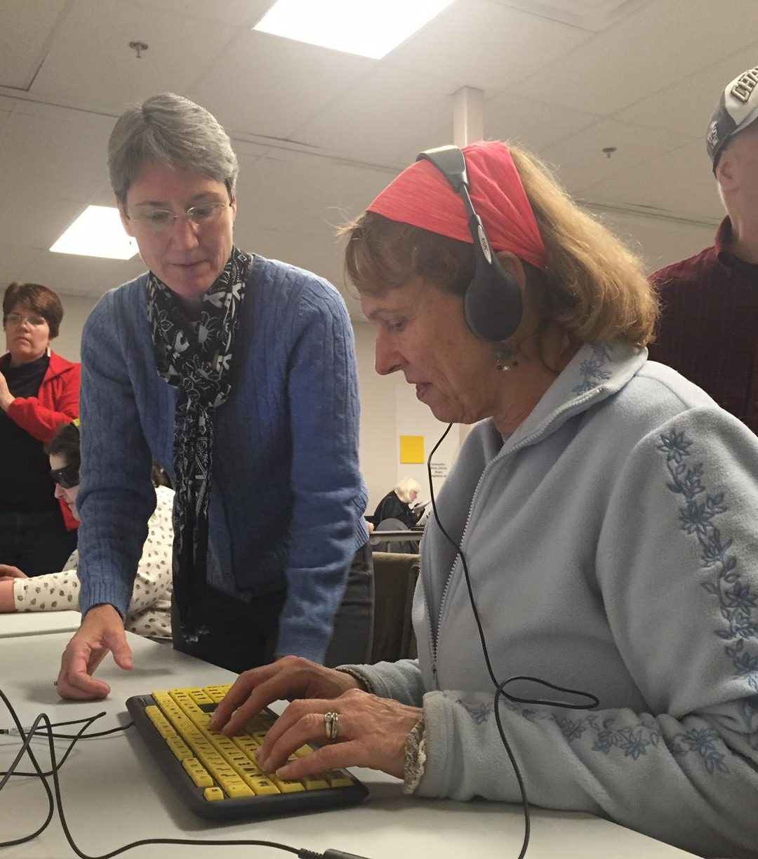 Nancy Druke assisting at the polls