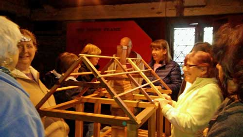 A group doing an activity at Strawbery Banke