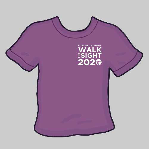 Walk for Sight T-Shirts for every walker who signs up! We will send the to you in the mail before the event kicks off on August 1.