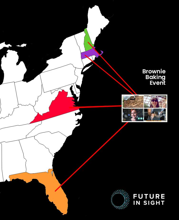 Map of east coast showing states where people were when they attended to Brownie Bakling online event. NH, MA, FLA and VA!