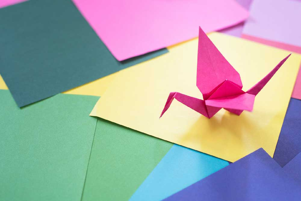 Origami examples on bright colorful paper