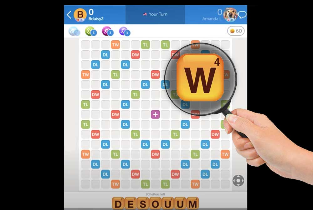 Words with Friends game with magnifying glass over the letter W