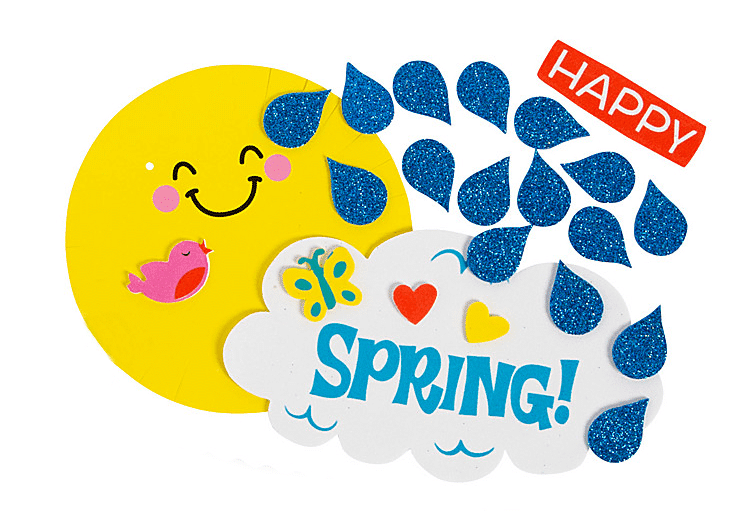 Happy spring sign with bright yellow sun, clouds and raindrops
