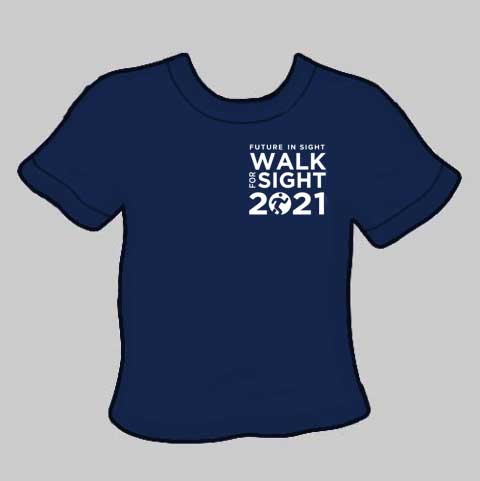 WFS 2021 Navy Blue T-shirt with White Walk for Sight 2020 Logo