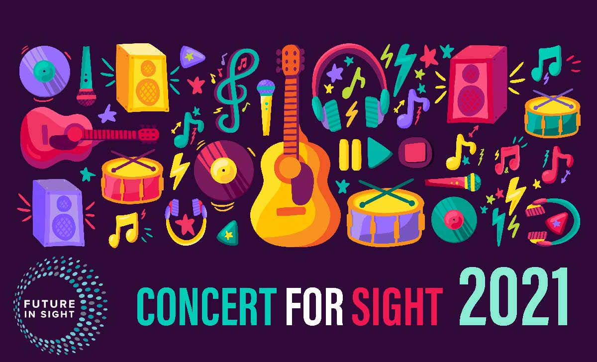 Concert for sight 2021 - colorful graphic with bright colored illustrations of musical instruments and music notes on a deep purple background