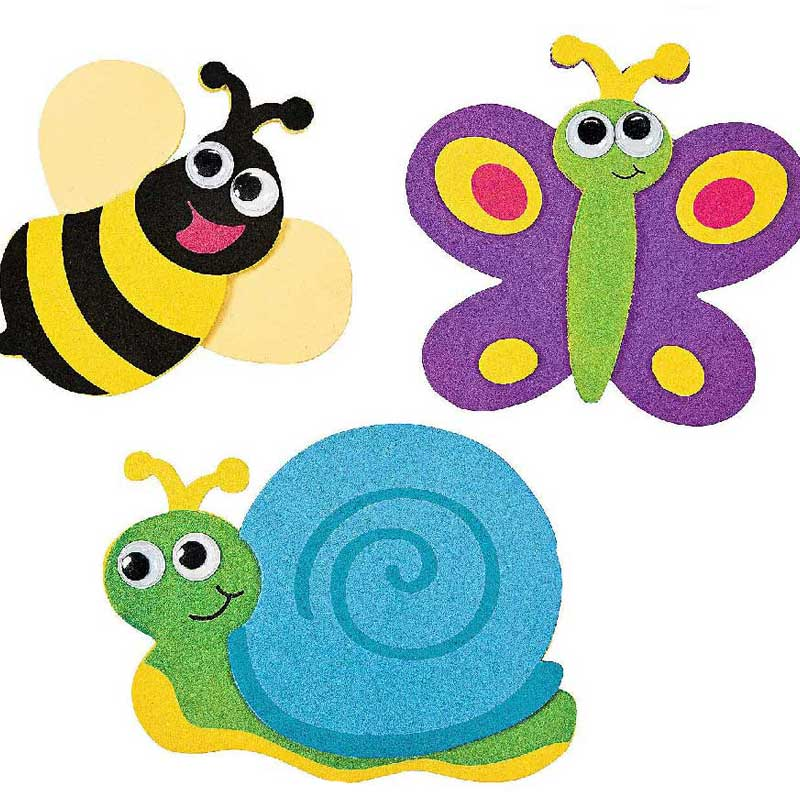 Cute colorful animal magnets, a snail, a bumble bee and a butterfly