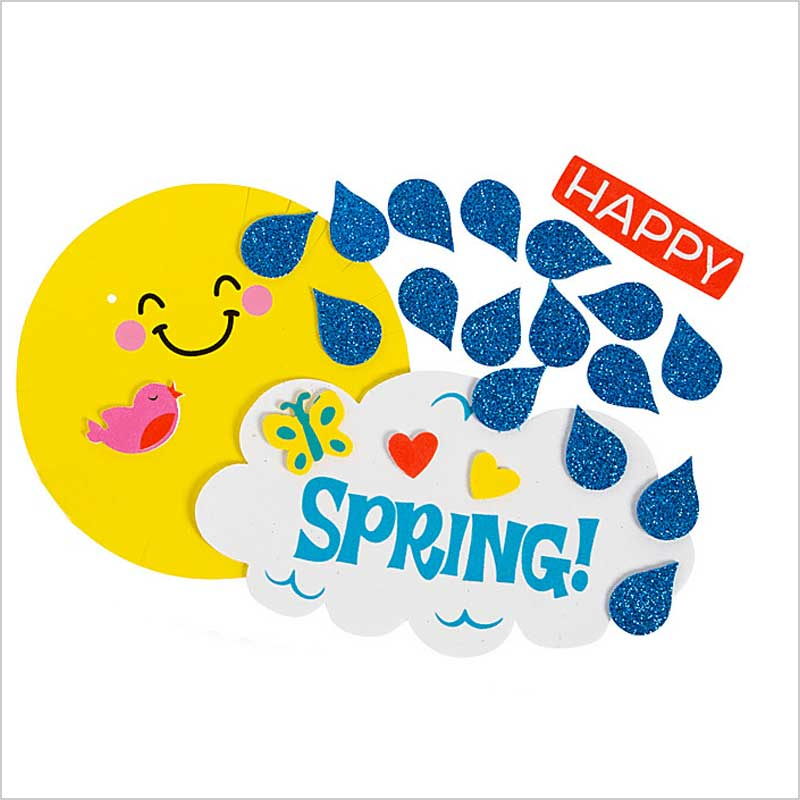Spring crafting bright yellow sun smiling with blue glitter raindrops and a cloud that says Spring!