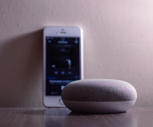 smart home technology such as a Google Home and smart phone